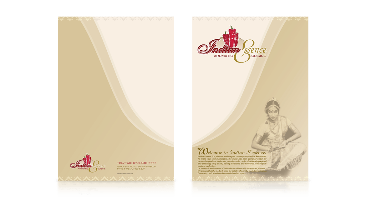 Indian Essence Menu Design
